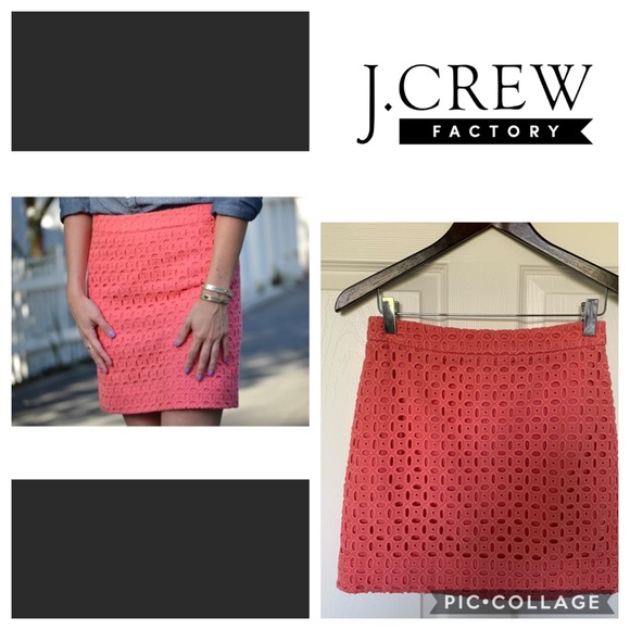 JCrew Coral Eyelet Mini Skirt
